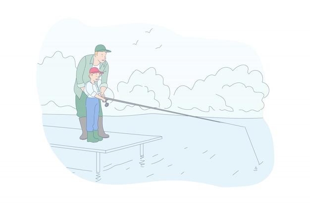 Illustrazione di pesca del figlio e del padre