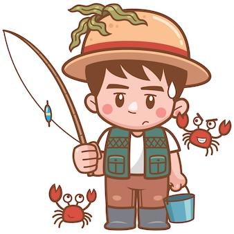 Illustrazione di pesca del ragazzo del fumetto