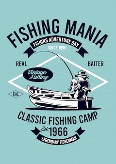 Illustrazione di pesca mania design