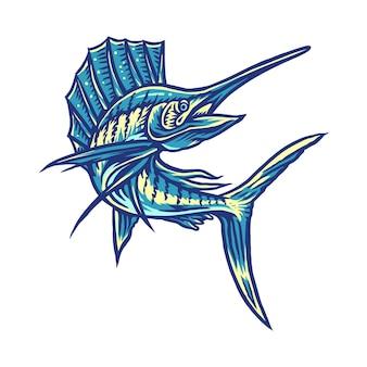 Illustrazione di pesce vela, linea disegnata a mano con colori digitali