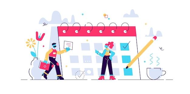 Illustrazione di pianificazione. t mini concetto di persone con calendario di pianificazione.