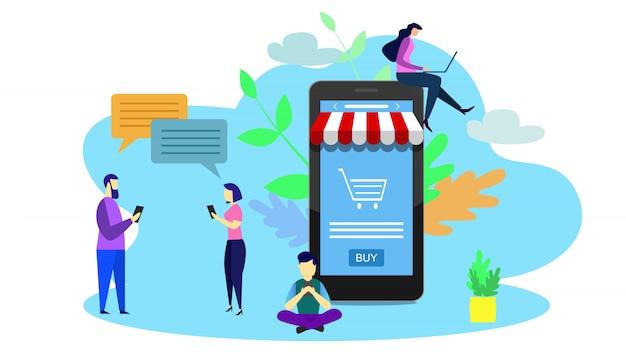 Illustrazione di piccole persone che utilizzano smart phone. concetto di negozio online.