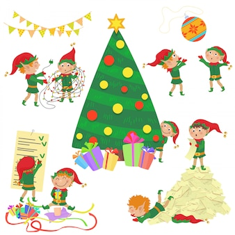 Illustrazione di piccoli elfi svegli che decorano l'insieme dell'albero di natale.