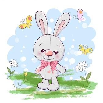 Illustrazione di piccoli fiori e farfalle lepre carino