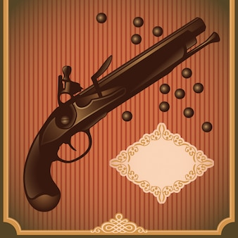 Illustrazione di pistola antica