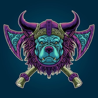 Illustrazione di pitbull viking