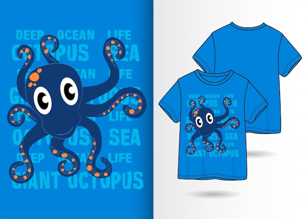 Illustrazione di polpo carino disegnato a mano con design t-shirt
