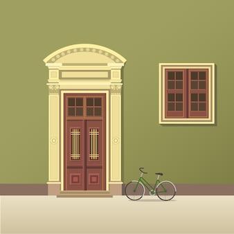 Illustrazione di porte e finestre d'epoca