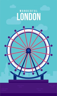 Illustrazione di poster piatto di london eye