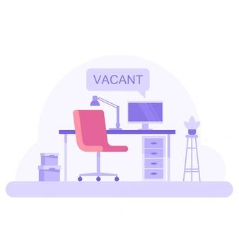 Illustrazione di posto di lavoro ufficio vuoto. posto di lavoro indipendente.