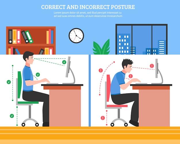 Illustrazione di posture di seduta della spina dorsale