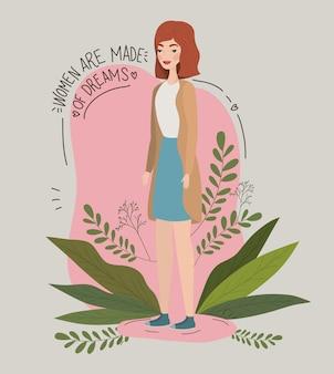 Illustrazione di potere della ragazza femminile con il carattere dell'avatar delle foglie progettazione dell'illustrazione di vettore