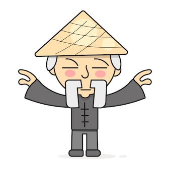Illustrazione di pratiche curative del corpo orientale di meditazione di qigong