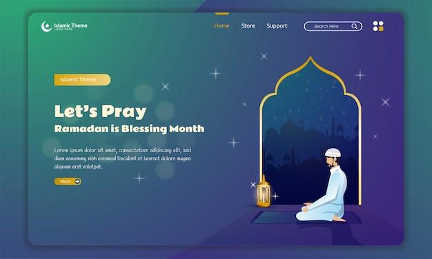 Illustrazione di preghiera islamica per il concetto di ramadan alla pagina di destinazione