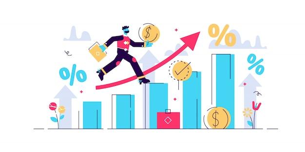 Illustrazione di previsioni finanziarie. concetto di piccole persone economiche.