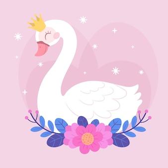 Illustrazione di principessa carino cigno