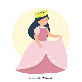 Illustrazione di principessa dai capelli scuri piatto