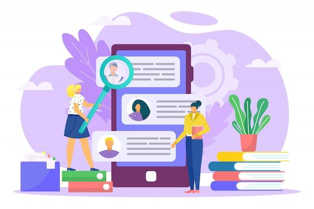 Illustrazione di processo di reclutamento, carriera e lavoro. colloquio di lavoro, agenzia di reclutamento, responsabile delle risorse umane recluta i dipendenti dei candidati. recupero di servizi aziendali online.