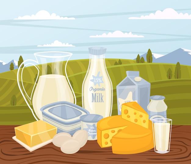 Illustrazione di prodotti agricoli con composizione di latte