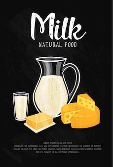 Illustrazione di prodotti lattiero-caseari con modello di testo