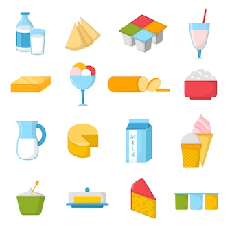 Illustrazione di prodotti lattiero-caseari.
