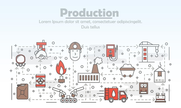 Illustrazione di produzione d'arte linea sottile di vettore