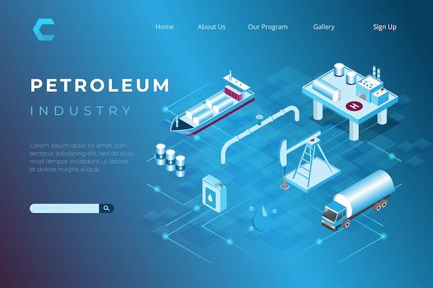Illustrazione di produzione di petrolio e gas, raffinerie di petrolio e distribuzione del prodotto nell'illustrazione isometrica 3d