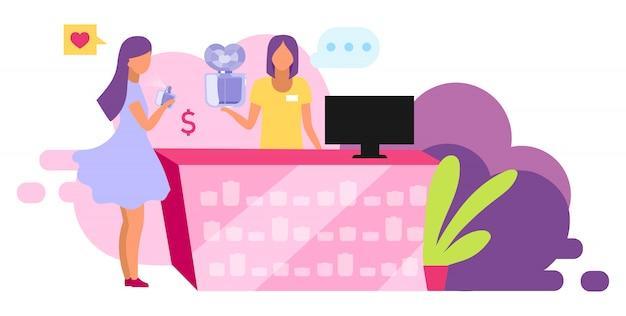 Illustrazione di profumi d'acquisto. cliente che sceglie prodotto di bellezza, fragranza. personaggio dei cartoni animati del negozio, del consulente della boutique e del cliente dei cosmetici su fondo bianco