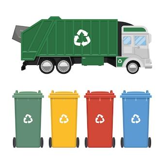 Illustrazione di progettazione del camion di immondizia isolata su fondo bianco