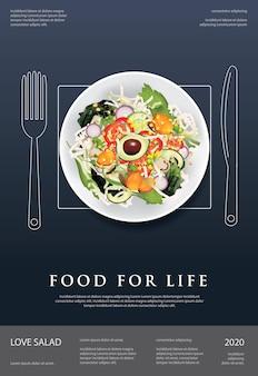 Illustrazione di progettazione del manifesto dell'alimento, della mela e del pane dell'insalata di verdure