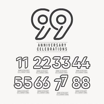 Illustrazione di progettazione del modello di numero di celebrazione di anniversario di 99 anni