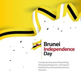 Illustrazione di progettazione del modello di vettore di festa dell'indipendenza del brunei