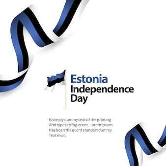 Illustrazione di progettazione del modello di vettore di festa dell'indipendenza dell'estonia