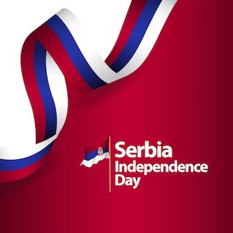 Illustrazione di progettazione del modello di vettore di festa dell'indipendenza della serbia