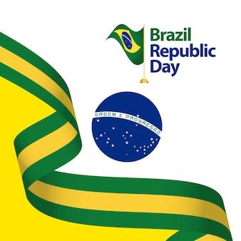Illustrazione di progettazione del modello di vettore di giorno della repubblica del brasile