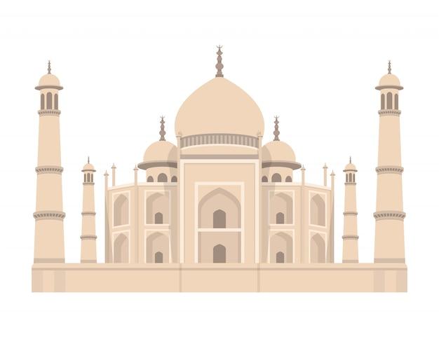 Illustrazione di progettazione dell'india del taj mahal isolata su fondo bianco