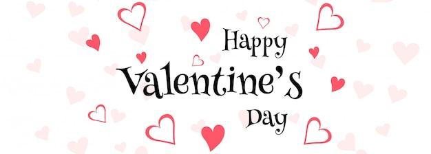 Illustrazione di progettazione dell'intestazione della carta di amore di san valentino felice