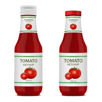 Illustrazione di progettazione della bottiglia di ketchup isolata su fondo bianco