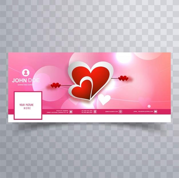Illustrazione di progettazione della copertura di facebook di san valentino astratto