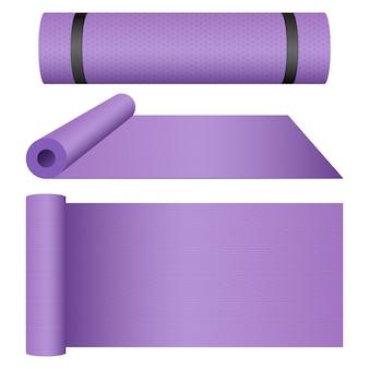 Illustrazione di progettazione della stuoia di yoga isolata su fondo bianco