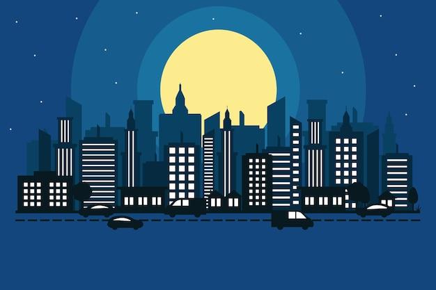 Illustrazione di progettazione della via della costruzione del paesaggio dell'orizzonte di paesaggio urbano della città