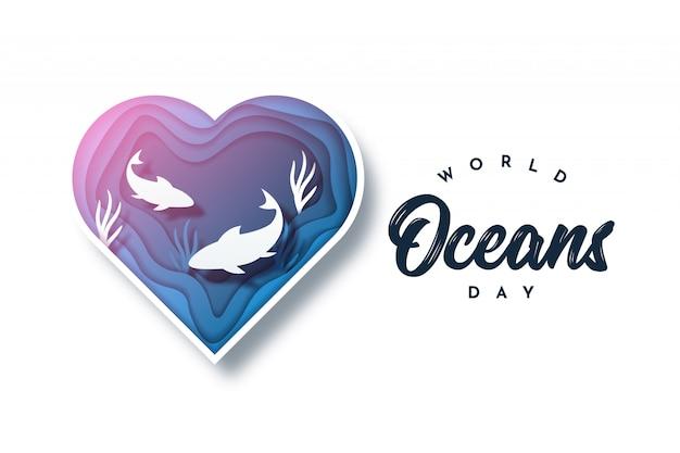 Illustrazione di progettazione di giornata mondiale degli oceani