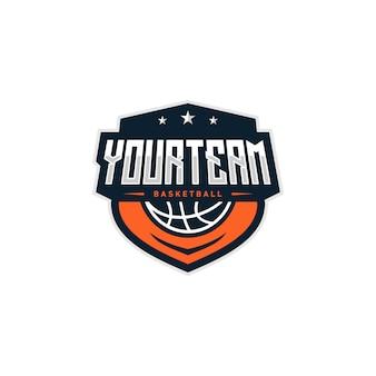 Illustrazione di progettazione di logo del distintivo di pallacanestro