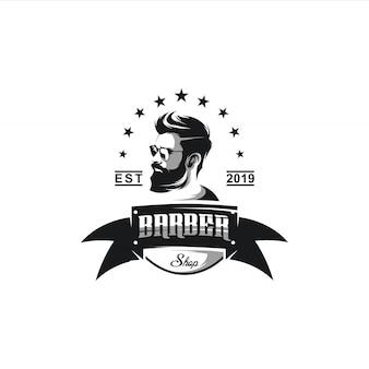 Illustrazione di progettazione di logo del negozio di barbiere