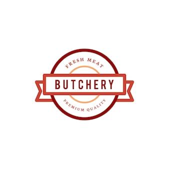 Illustrazione di progettazione di logo del negozio di macelleria
