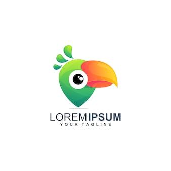 Illustrazione di progettazione di logo del perno di pappagallo