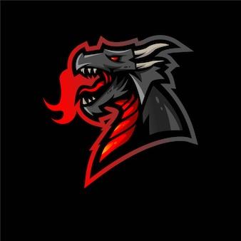 Illustrazione di progettazione di logo della mascotte di e-sport del drago