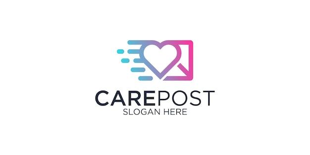 Illustrazione di progettazione di logo della posta di cura