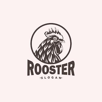 Illustrazione di progettazione di logo della testa del gallo