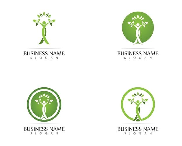 Illustrazione di progettazione di logo di foglia di persone di salute